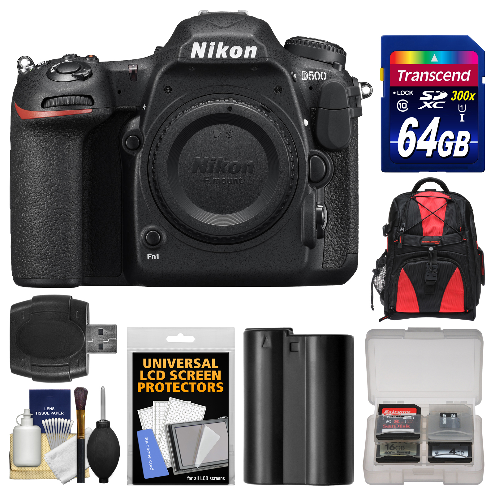 Nikon D500 Wi-Fi 4K Digital SLR Camera Body with 64GB Card + Backpack + Battery + Kit by Nikon