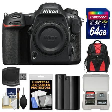 Nikon D500 Wi-Fi 4K Digital SLR Camera Body with 64GB Card + Backpack + Battery + Kit