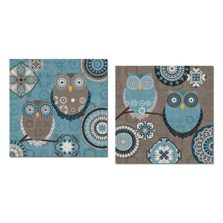 Groovy Blue, Brown and Grey Decorative Patterned Owls by Veronique Charron; Two 12x12 Poster Prints ()