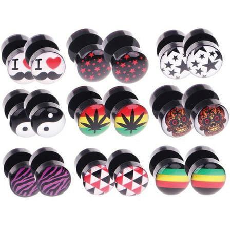 BodyJ4You 18PC Fake Plugs Logo Ear Gauge Cheater 00G Look 16G Pot Leaf Skull Stars Black Earrings