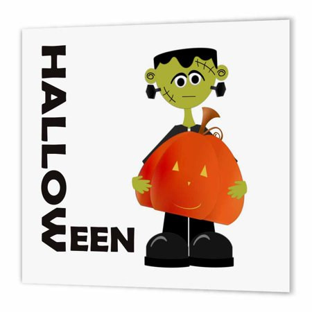 3dRose Frankenstien and Pumpkin Halloween, Iron On Heat Transfer, 6 by 6-inch, For White Material