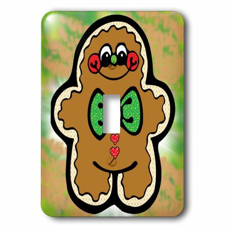 3dRose Cute Country Happy Gingerbread Person, Single Toggle Switch