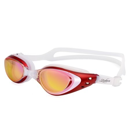 Zodaca Adjustable Eye Protect Non-Fogging Anti UV Swimming Goggle Glasses Adult Red (with Storage Case & Ear plugs & Nose bridges)