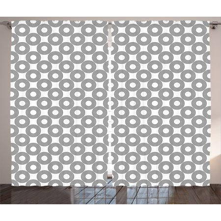 Geometric Circle Decor Curtains 2 Panels Set  Vinyl Records Inspired Concentric Rings With Curve Grids Art Print  Window Drapes For Living Room Bedroom  108W X 90L Inches  Black Gray  By Ambesonne