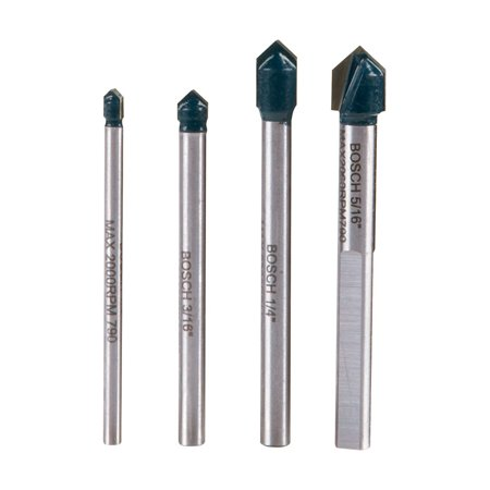 Bosch Carbide Tipped Glass and Tile Bit Set 4 (Carbide Tipped Bit Set)