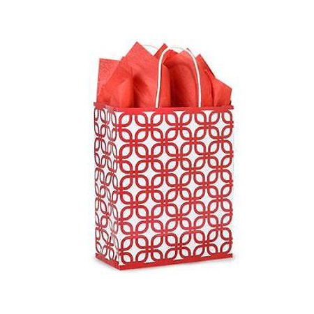 1 Unit Carrier Red Geo Graphics Recycled Paper Bags Bulk 10X5x13  Unit Pack 250