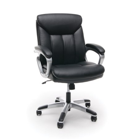 ESS-6020 Office Furniture Mid Back luxurious leather height adjustable swivel Silver Frame BLACK Computer Chair With Arms