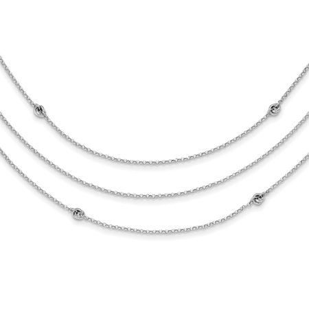 Sterling Silver Rhodium-plated Love Knot Multi-Strand with 2in Extender Pendant Necklace