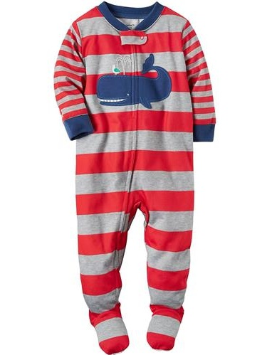 Carters Boys 12-24 Months Stripe Whale Pajama(Red 12 Months)