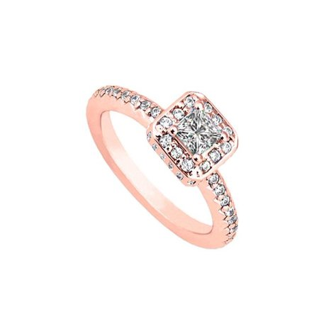 UBJ7300P14CZ Best CZ Engagement Ring in 14K Rose (Best Quality Cz Engagement Rings)