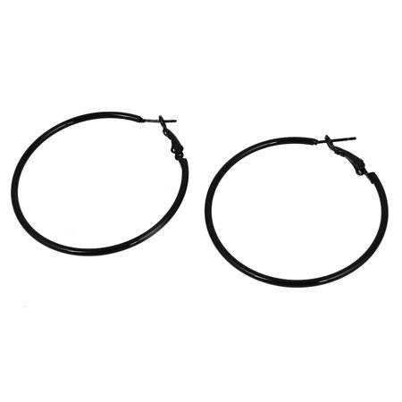Woman Lady 2 Diameter Black Metal Pierced Hoop Earrings Earbob Earbobs Pair
