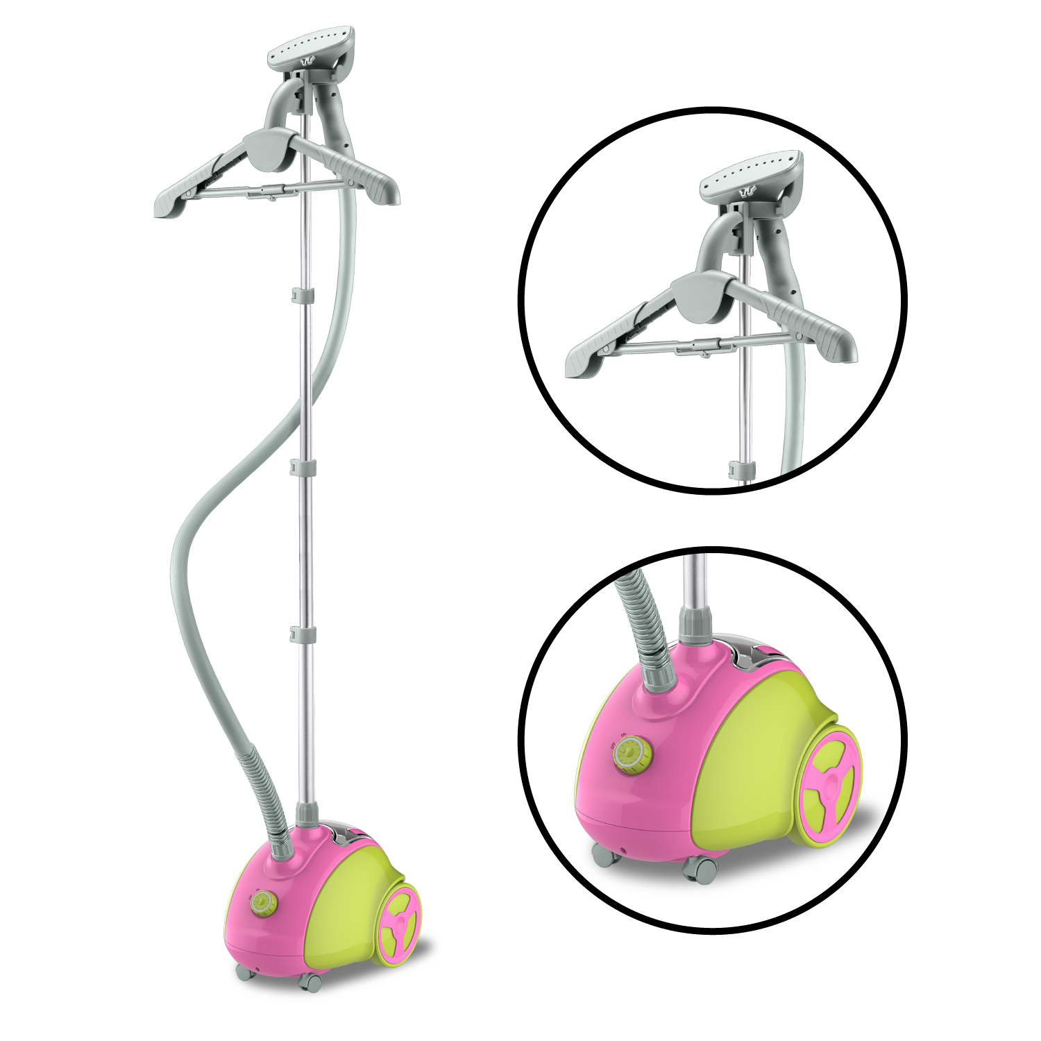 Steam and Go Professional Garment Steamer with Garment Hanger and Fabric Brush Pink Green by