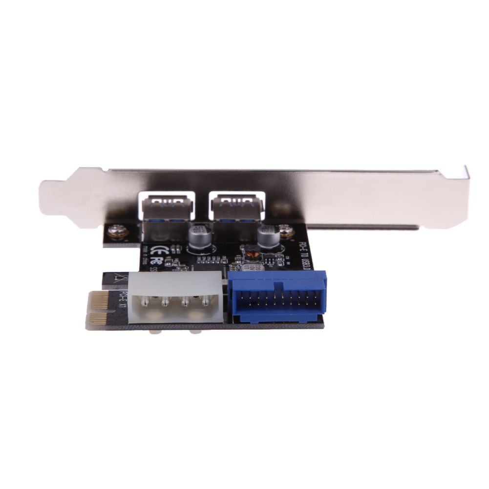 2 Port PCIE to USB 3.0 Expansion Card Internal 19pin Header 4pin IDE Power Connector