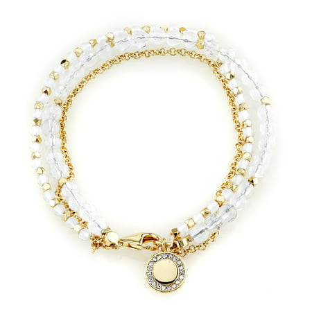 14Kt Gold Flash Plated Clear Quartz Bracelet with Crystal Disc (Flashing Charm)