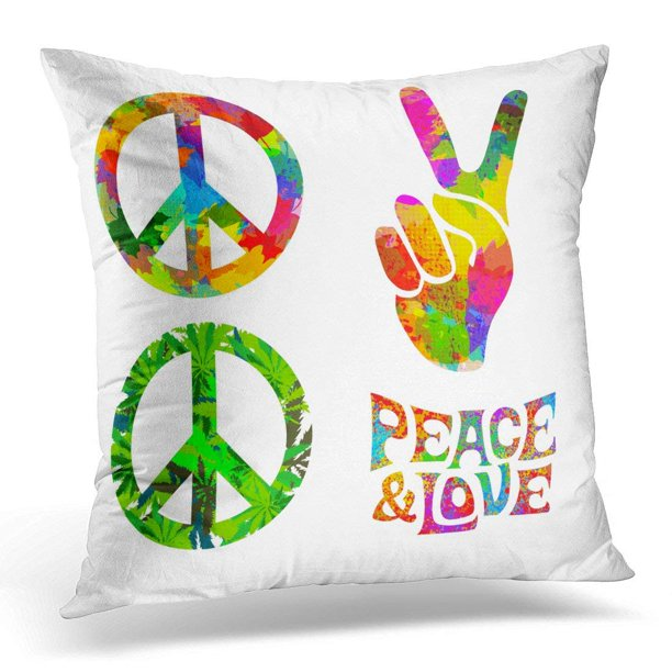 Arhome Colorful Peace Of Pacific Symbol And Words Pease And Love Orange Groovy Pillow Case Pillow Cover 20x20 Inch Walmart Com Walmart Com