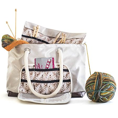 Knitting Tote with Needle Sleeve