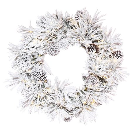 24 in. Flocked Atka Green Pine Wreath with 3 mm & 150 Warm White Light - image 1 of 1
