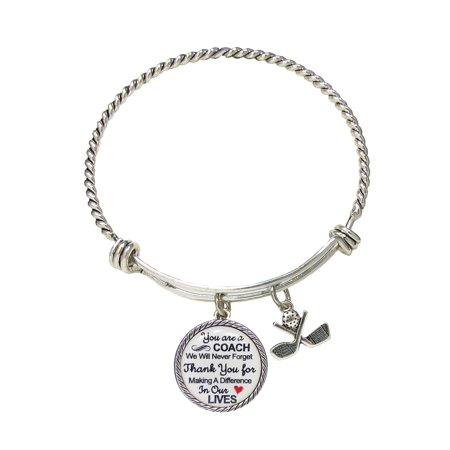Golf Coach Thank You Gift Silver Bracelet Jewelry](Golf Jewelry Wholesale)