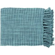 "49"" x 59"" Summertime Breeze Ocean Blue and Teal Fringed Throw Blanket"