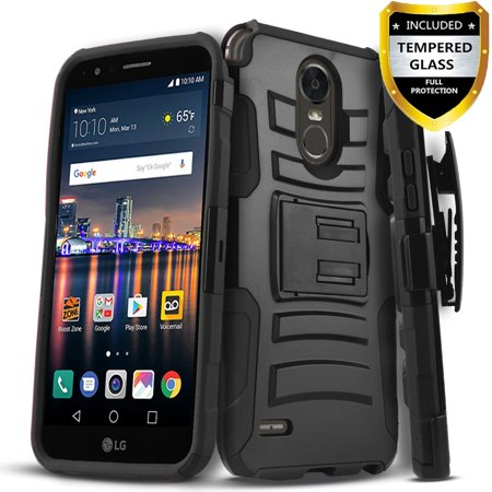 LG K30 Case, LG K10 2018 Case, Dual Layers [Combo Holster] And Built-In Kickstand Bundled with [Temerped Glass Screen Protector] Hybird Shockproof And Circlemalls Stylus Pen