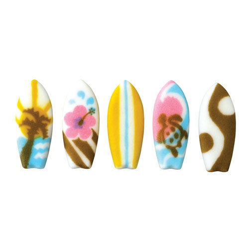 Surf Board Assortment Sugar Decorations Toppers Cupcake Cake Cookies Beach Favors Party 12 Count