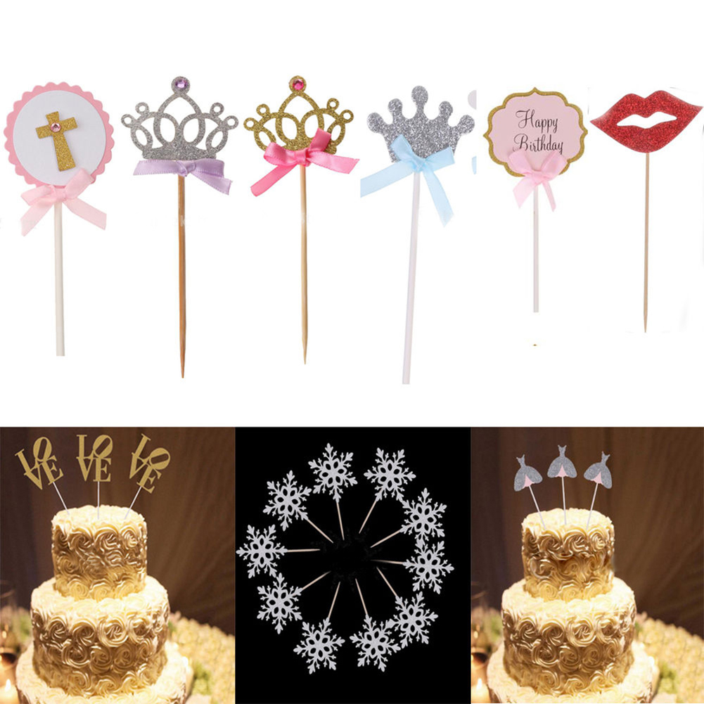 Micelec 10 Pcs Cute Crown Dress Wedding Baby Shower Cake Cupcake Toppers Party Decors