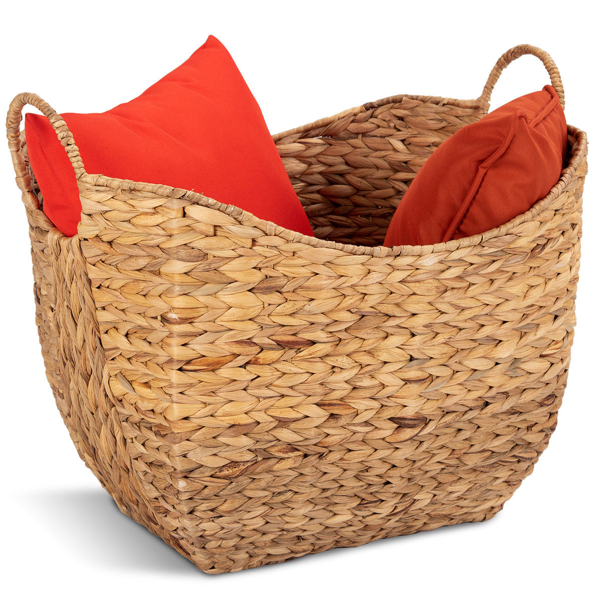 Costway Large Woven Seagrass Storage Basket Wicker Pattern Baskets Handles Organizer