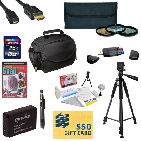 Best Value Kit for Canon M Rebel SL1 Includes 16GB SDHC Card +  Battery + Charger + 3 Piece Pro Filter Kit + HDMI Cable + Gadget Bag +Tripod + Lens Pen + Cleaning Kit + DSLR DVD + $50 Gift Card +