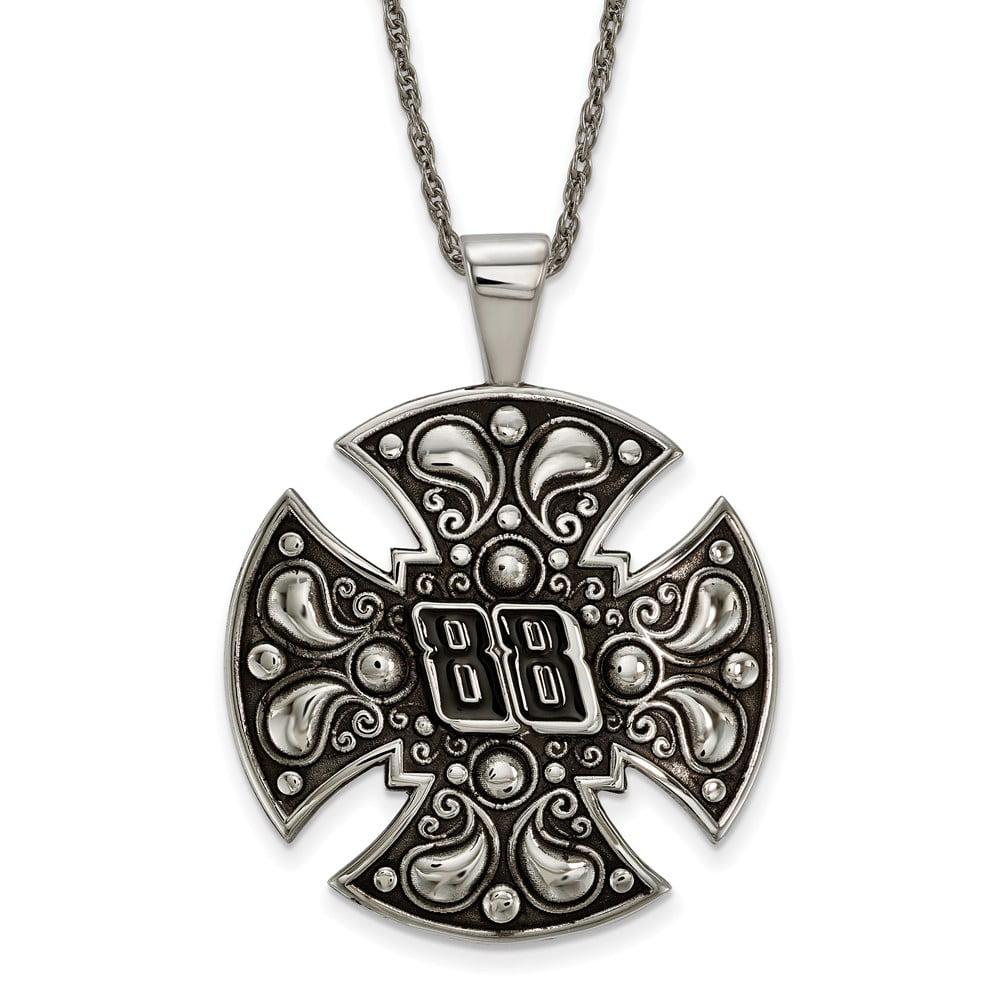 Lex & Lu LogoArt Stainless Steel Large Maltese Cross For Men LAL159689 by