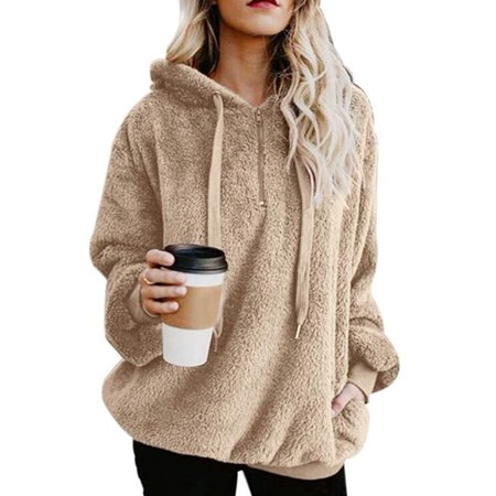 ukap womens teddy bear hoodie jacket ladies faux fur. Black Bedroom Furniture Sets. Home Design Ideas