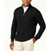 Club Room Men's Pima Cable Quarter-Zip Sweater Deep Black XL