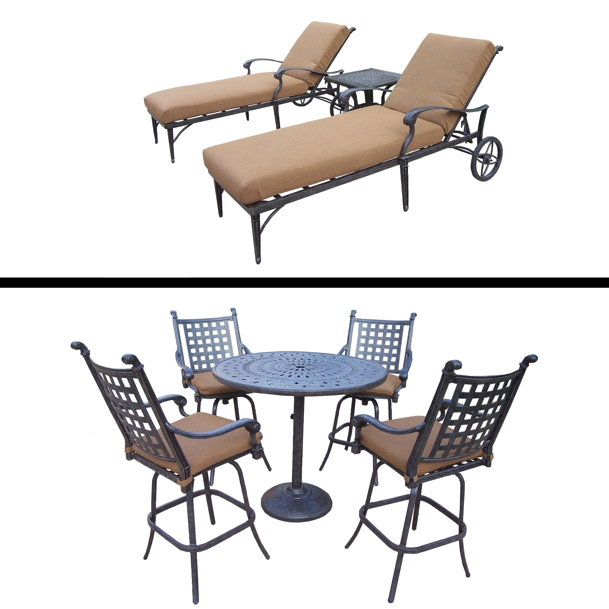Oakland Living 5 Pc Bar Set and 3 Pc Wheeled Chaise Lounge Set and Cushions. by Overstock