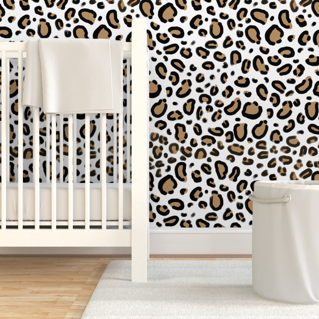 Removable Water-Activated Wallpaper Cheetah Animal Leopard Cougar Luxe Girly