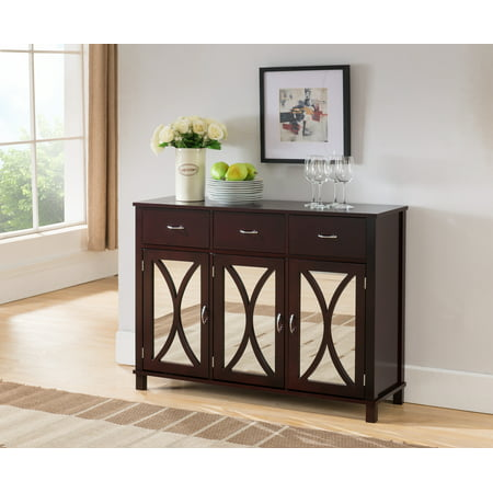 Luke Espresso Wood Contemporary Sideboard Buffet Server Console Table With Storage Drawers & Mirrored Cabinet Doors Dining Room Buffet Servers