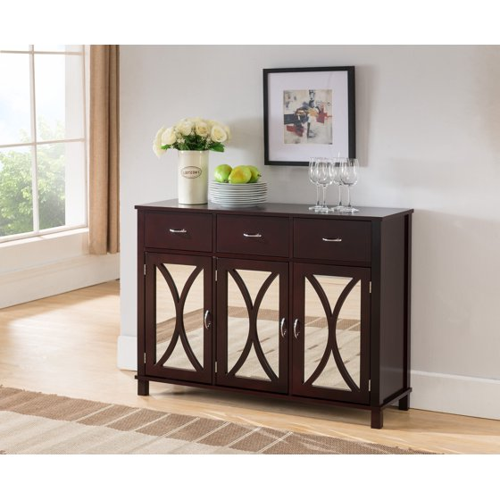 Espresso wood contemporary sideboard buffet server console - Contemporary console tables with drawers ...