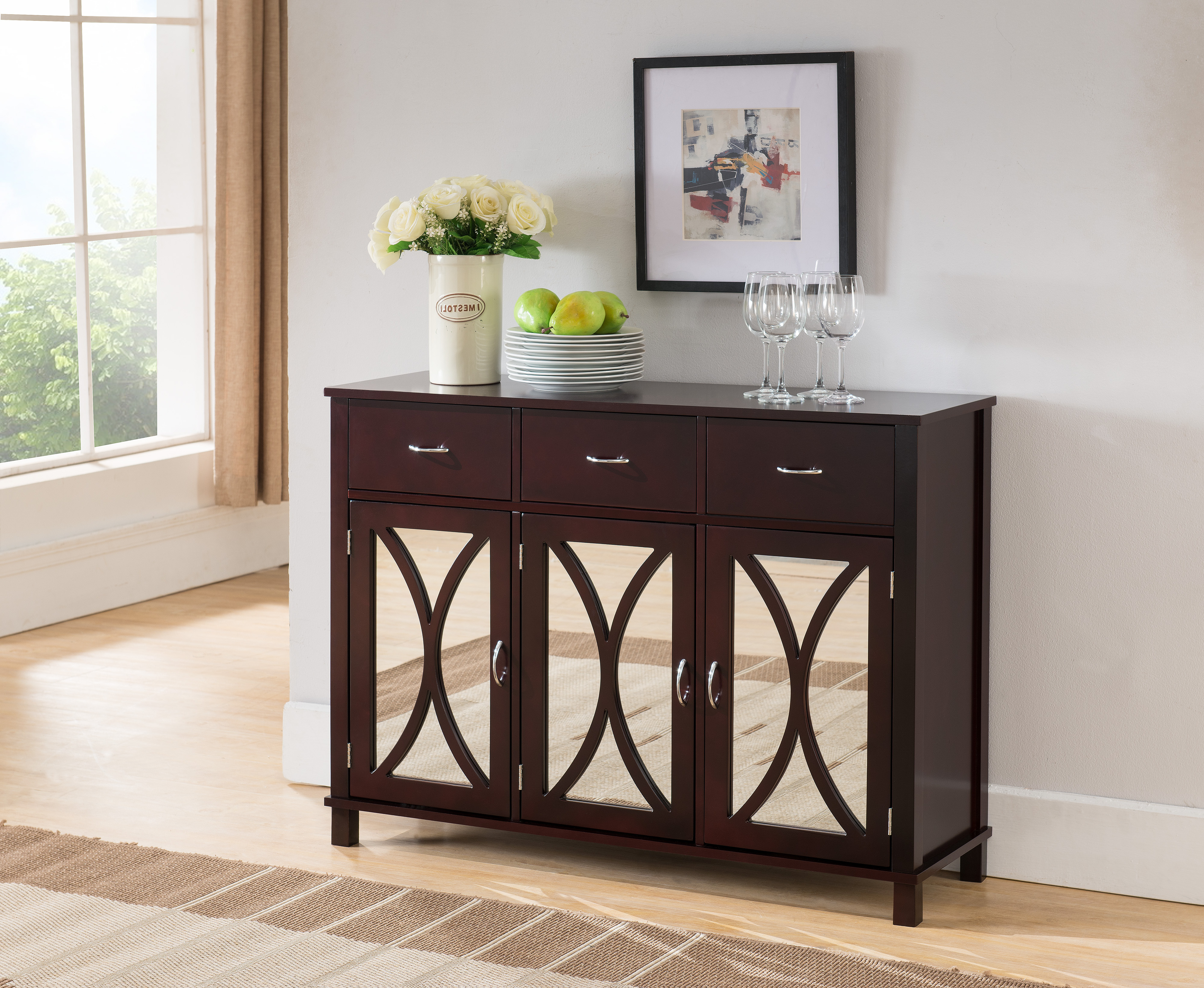 Luke Espresso Wood Contemporary Sideboard Buffet Server Console Table With  Storage Drawers U0026 Mirrored Cabinet Doors