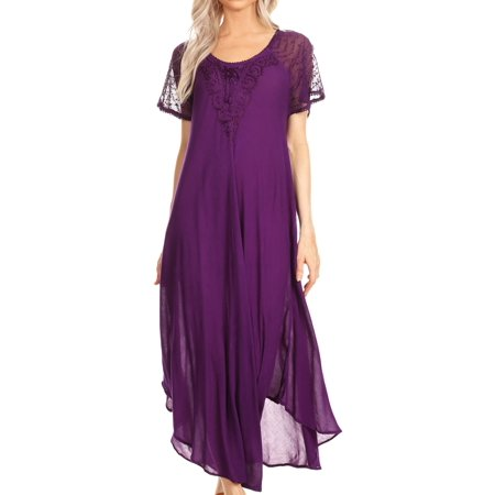 Sakkas Hayden Embroidered Lace-Up Caftan Dress / Cover Up with Eyelet Sleeves - Purple - OS