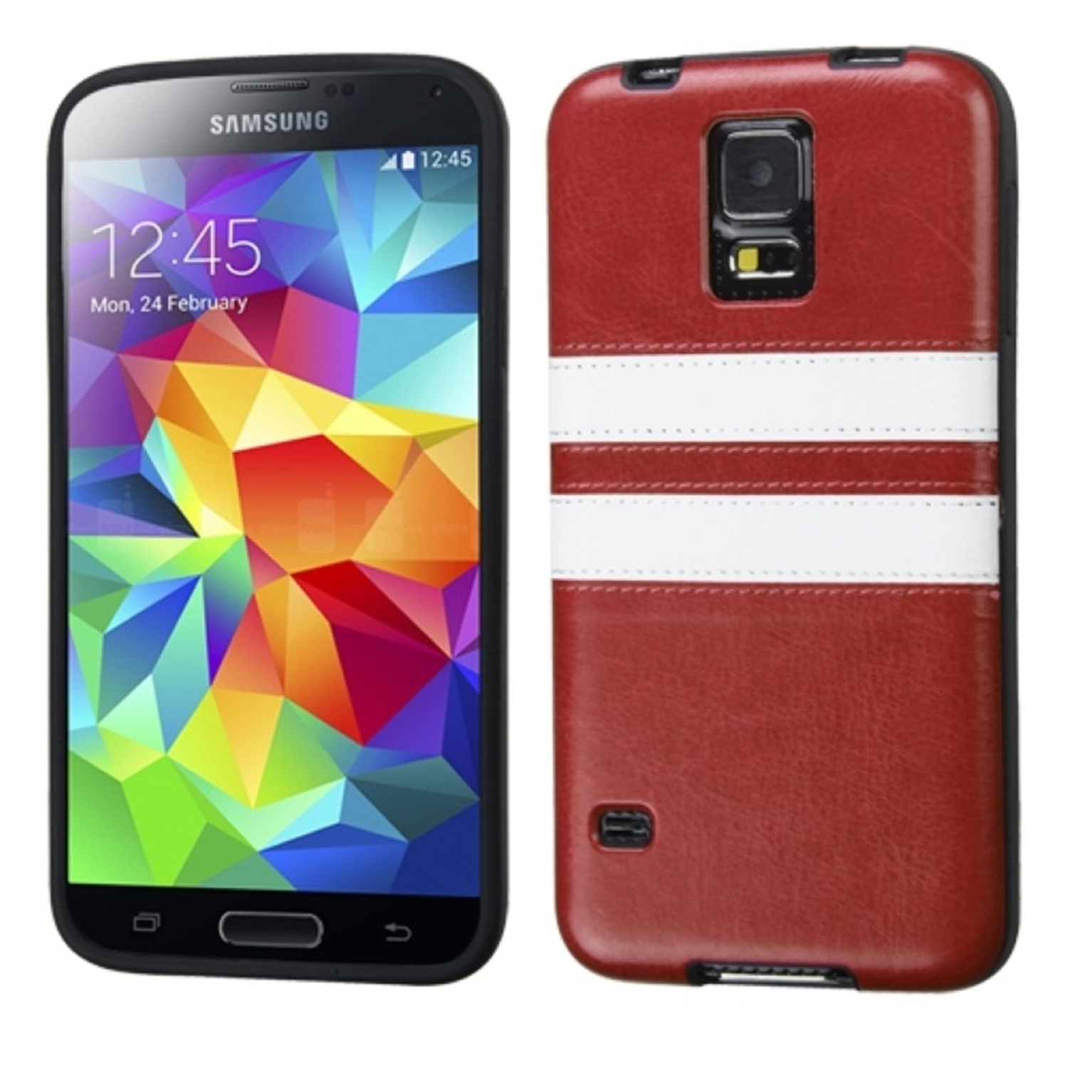 Insten Brown/White Leather Backing Candy Skin Case Cover For Samsung Galaxy S5 S V