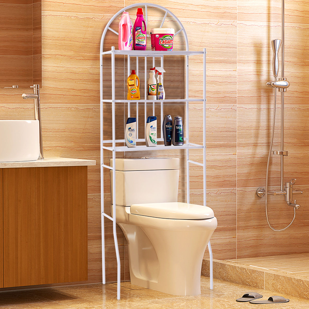 Costway 3 Shelf Over The Toilet Bathroom Space Saver Towel Storage Rack Organizer White