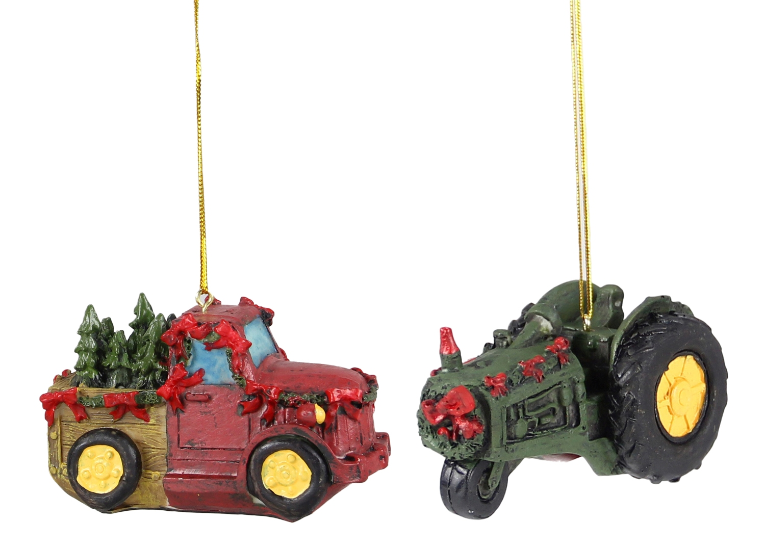 Red Farm Truck With Trees And Green Tractor Christmas Holiday Ornaments Set Of 2 Walmart Com Walmart Com