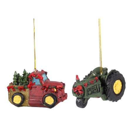 Red Farm Truck with Trees and Green Tractor Christmas Holiday Ornaments Set of