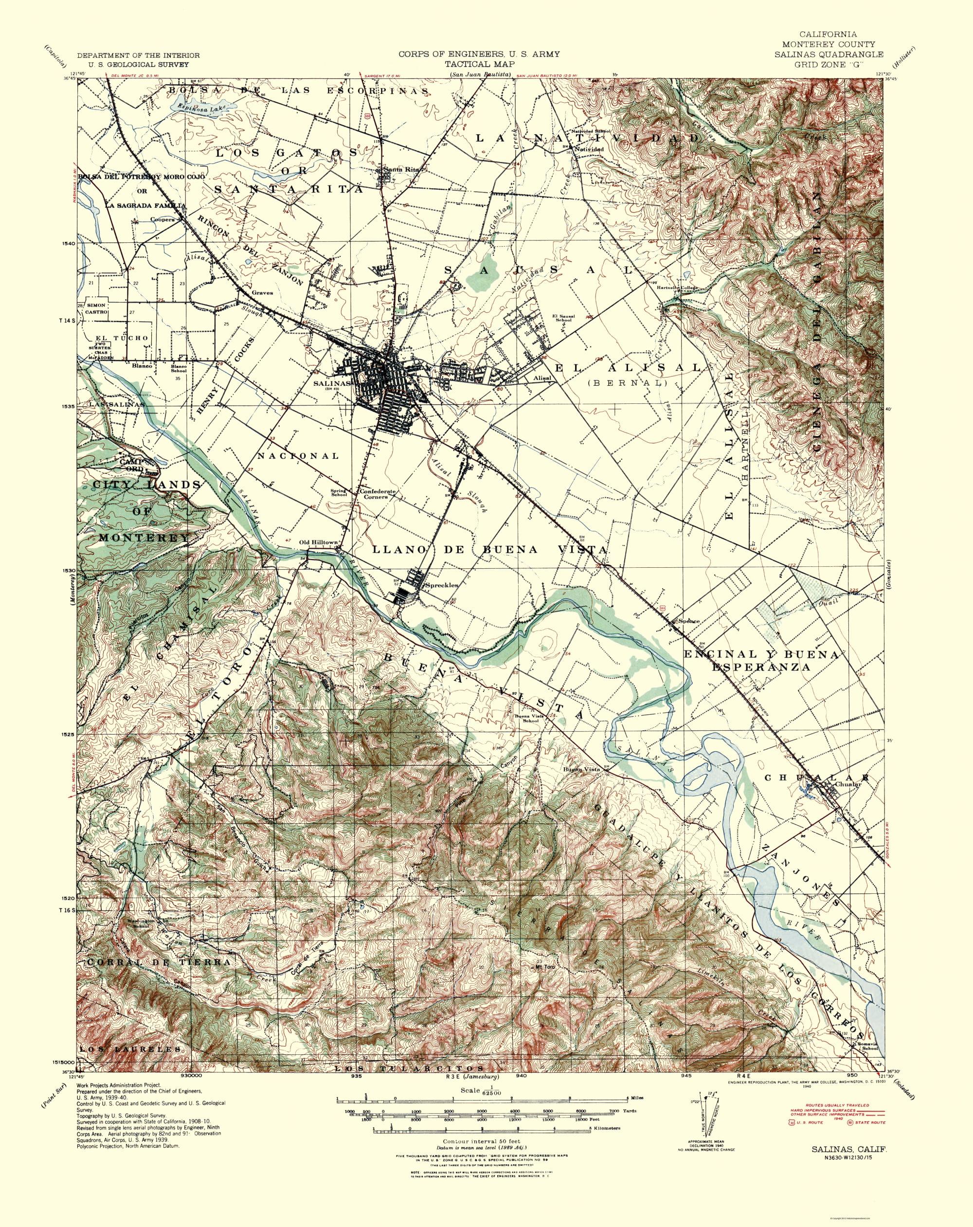 Topographical Map Print - Salinas California Quad - USGS 1940 - 23 x ...