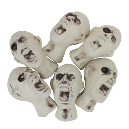 Pack of 6 White and Gray Skeleton Skull Heads with Open Mouths Halloween Decorations