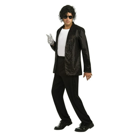 Deluxe Michael Jackson Jacket Adult Costume Billie Jean Jacket (Black Sequin) - Large - Michael Jackson Kid Costumes