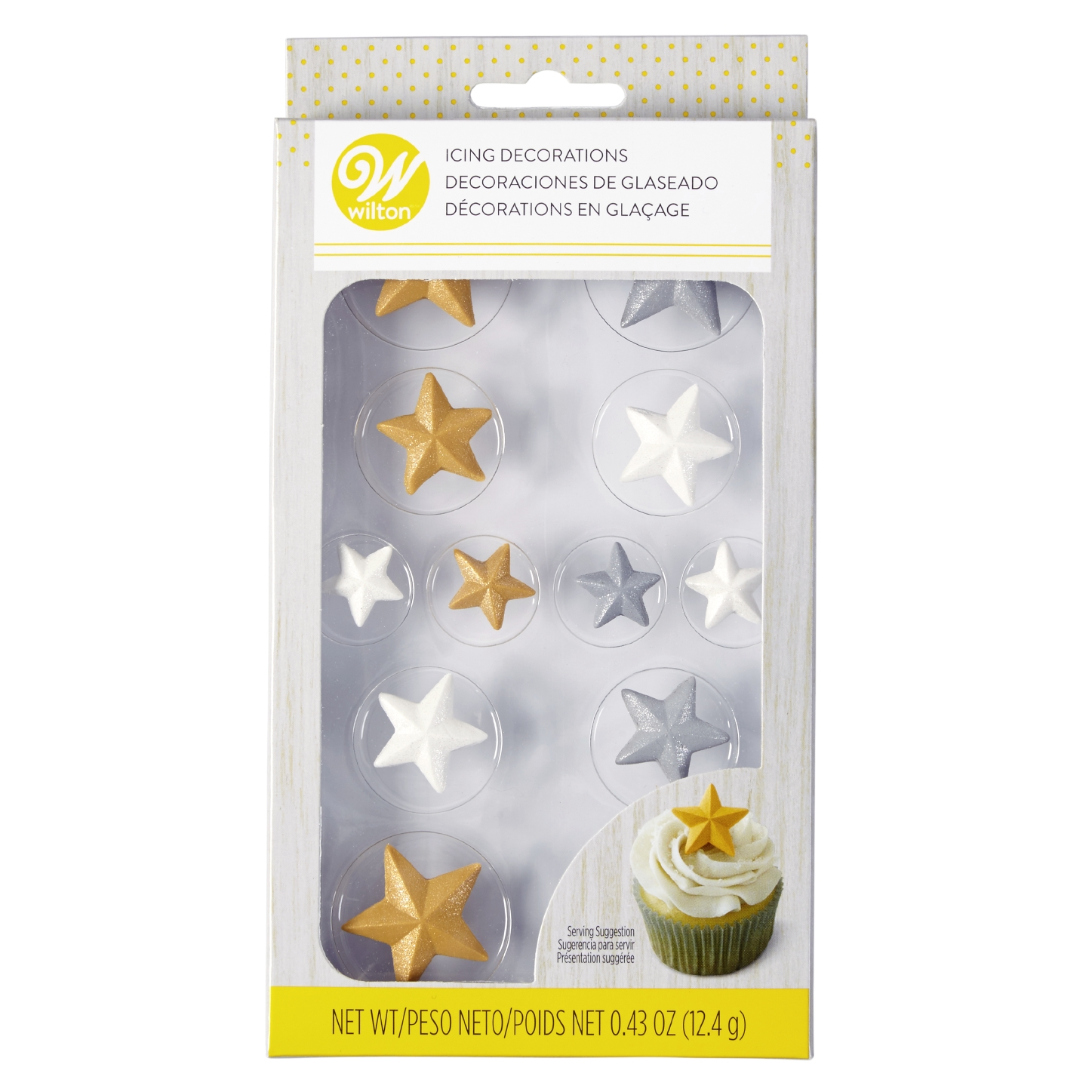Wilton Metallic Star Royal Icing Decorations, 12ct