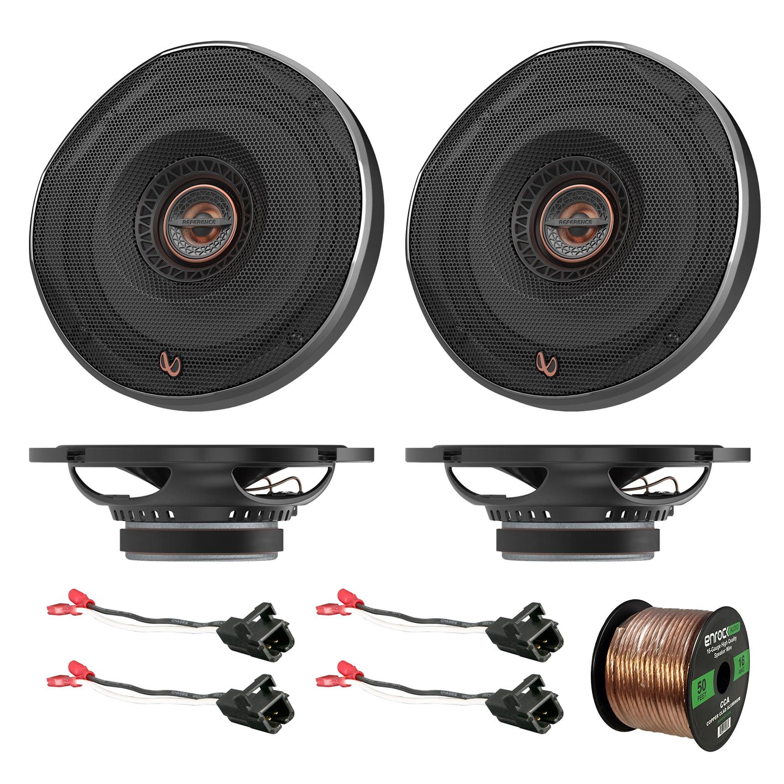 "4x Infinity REF-REF6532IX Shallow 6-1/2"" Coaxial Car Speakers, 4x Metra 72-4568 Speaker Wire Harness for Select GM Vehicles, Enrock Audio 16-Gauge 50 Foot Speaker Wire"