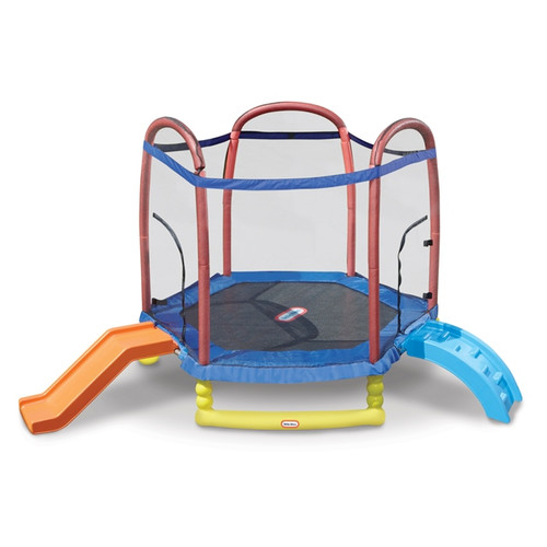 Little Tikes Climb 'n Slide 7-Foot Trampoline, with Enclosure and Padded Frame, Blue by Little Tikes