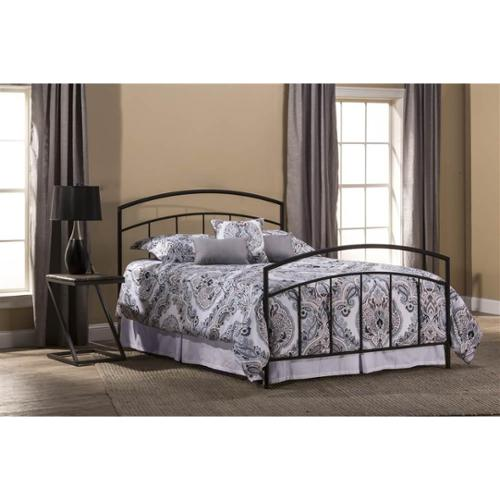 Contemporary Metal Bed in Textured Black Finish (Full: 71.25 in. L x 53.75 in. W x 46 in. H)