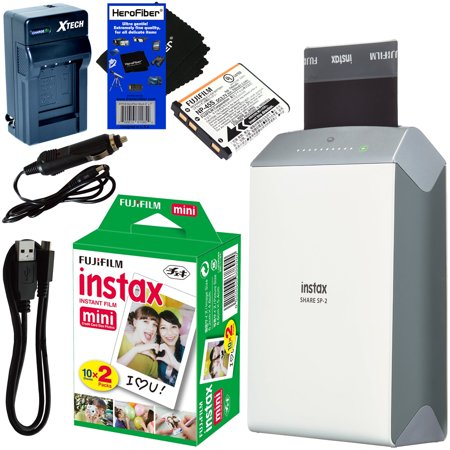 Fujifilm Instax Share Smartphone Printer Sp 2  Silver    Instax Mini Instant Film  20 Sheets    Rchrgbl  Battery   Ac Dc Charger   Herofiber Gentle Cleaning Cloth