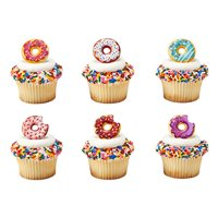 12 Donut Cupcake Cake Rings Birthday Party Favors Toppers